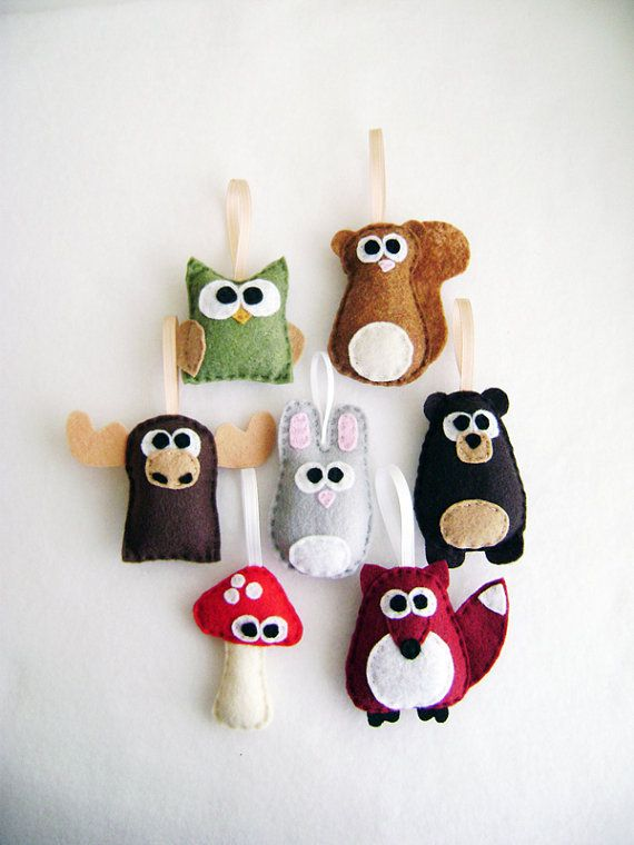Felt Ornament - Forest Friends - Baby Owl Bear Squirrel - Party Favors