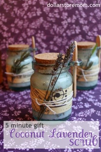 Coconut lavender scrub a homemade gift. I suggest you make a few to have on hand in case you need a gift.