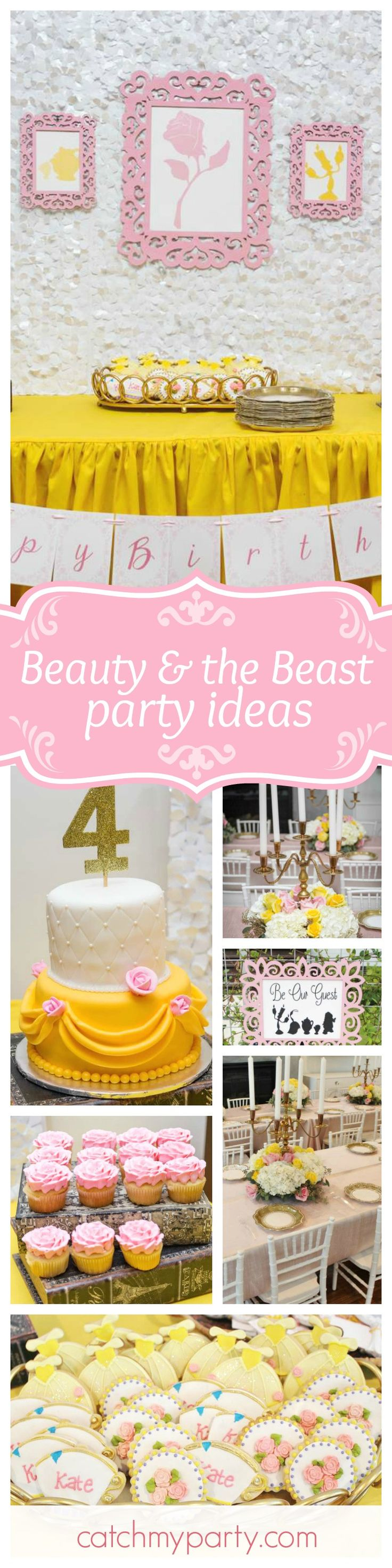 Take a look at this gorgeous Beauty & the Beast party. Wow! The Belle ballgown inspired cake is fabulous! See more party ideas and share yours at CatchMyParty.com