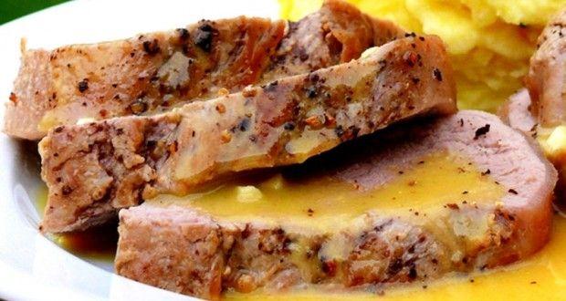 Carnes: Delicioso y jugoso lomo de cerdo asado con salsa de mostaza | Recetas faciles, Videos de Cocina | SaborContinental.com