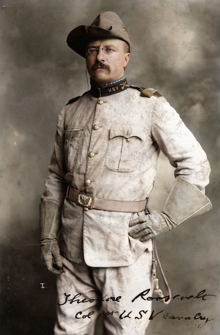 Theodore Roosevelt in his Rough Riders uniform with his signature blue polka-dotted scarf (colored by zuzahin)