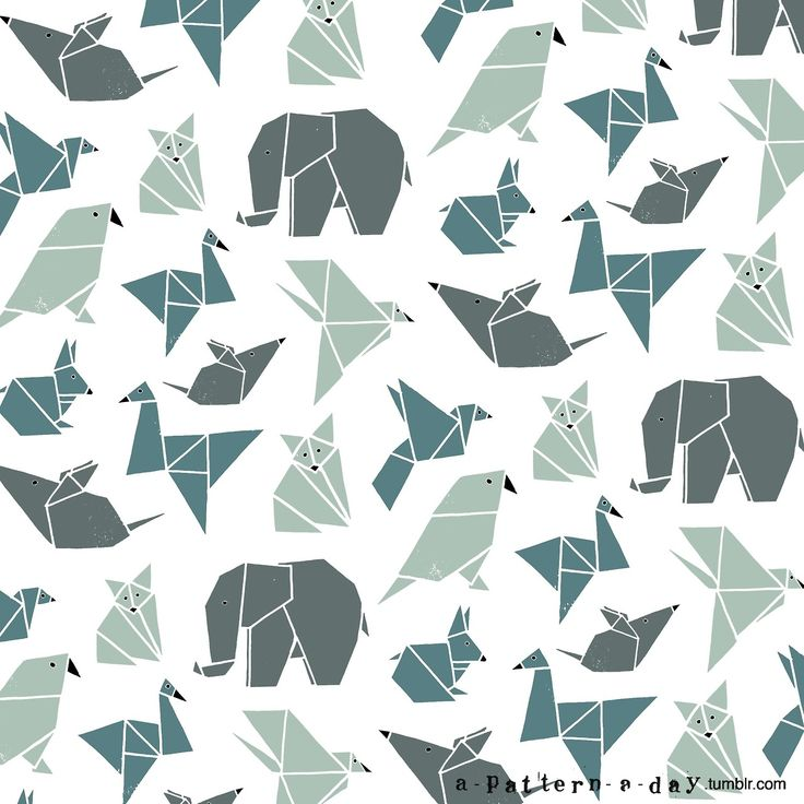 Origami animals pattern illustration Feature wall Wallpaper!