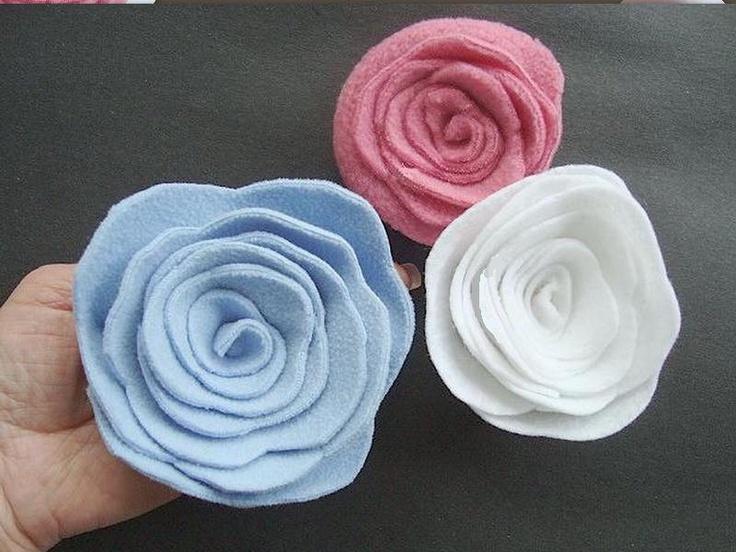 FLOWER TUTORIAL FELT roses, num. 38... How to make felt, fleece, or felted sweater spiral roses... ok to sell them. $4.95, via Etsy.
