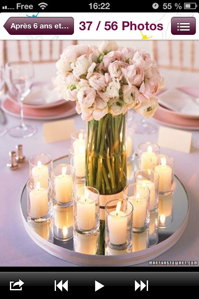 Centre de table bougies miroir vase