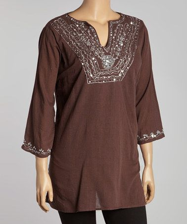 Another great find on #zulily! Brown & White Embroidered Three-Quarter Sleeve Tunic - Plus #zulilyfinds