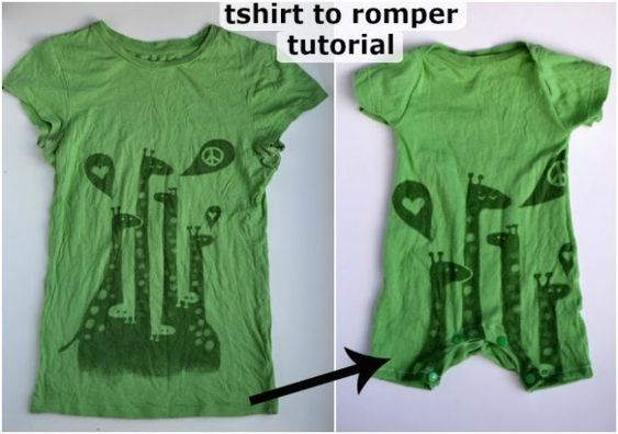 Recycle Adult T Shirt to a Baby Romper - Free Sewing Pattern 1