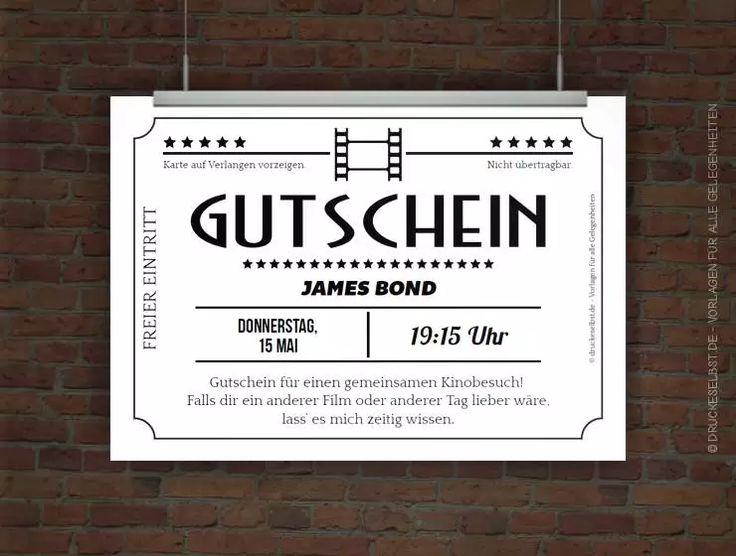 Gestalte Mit Dieser Kostenlosen Gutscheinvorlage Einen Kinogutschein.  Einfach Vorlage Personalisieren, PDF Druckvorlage Herunterladen Und  Ausdrucken.