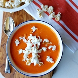 Roasted tomato soup, with a sprinkle of parmesan popcorn.