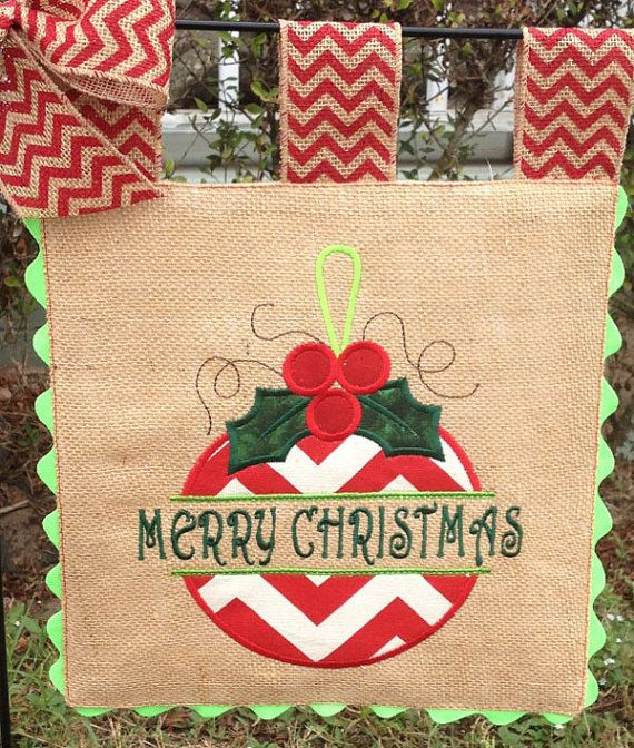 Great Burlap Garden Flag   Split Ornament  Merry Christmas   Embroidery Applique  By Sewgoddesscreations On Etsy