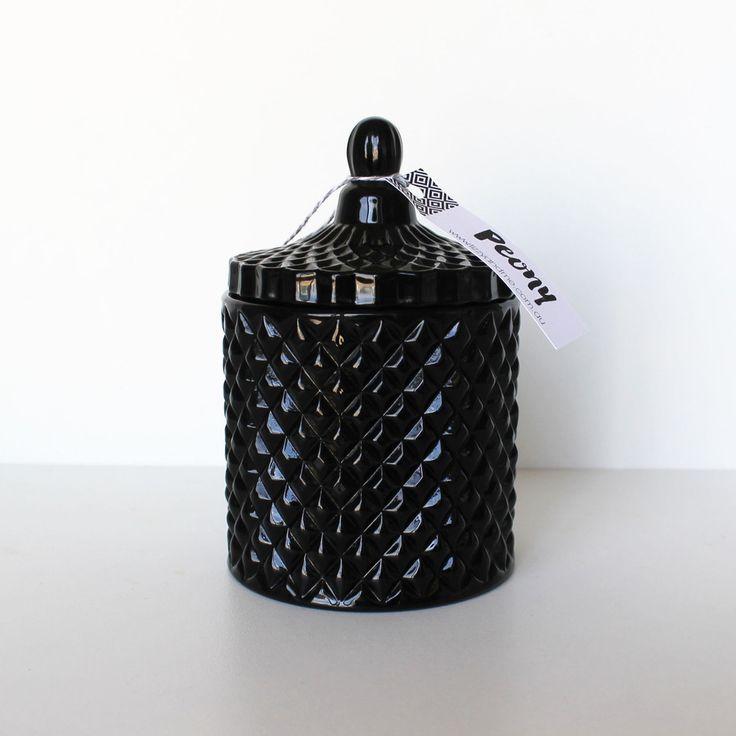 Luxary Range - Black Ceometirc Jar with Lid
