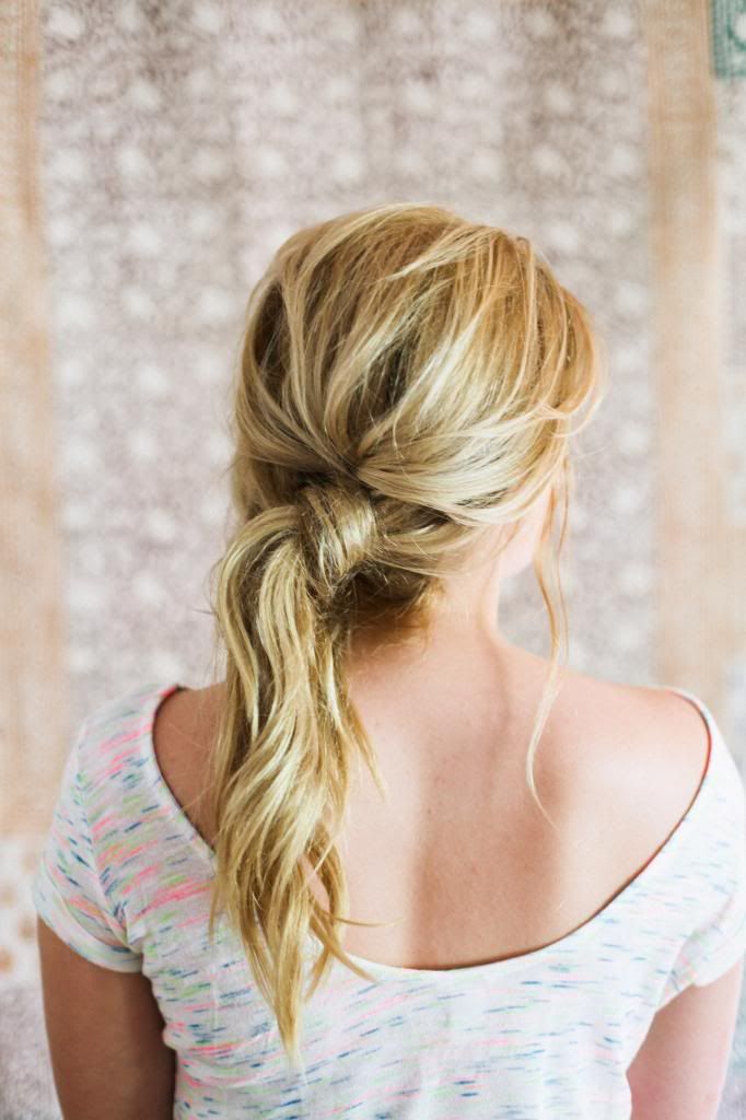 Just split, knot, and then hold it in place with a bobby pin. Instructions http://www.irrelephant-blog.com/2013/06/easy-twist-pony.html