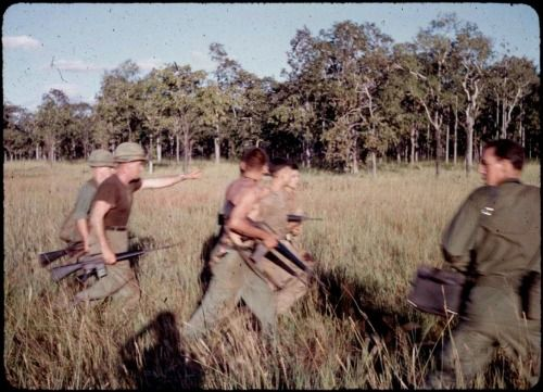 """vietnamwarera:  """" From the source:  """"The first two Communist North Vietnamese Regular POW's of the Battle of IA DRANG fresh from LZ X-RAY are escorted from Helicopter to Helicopter at LZ FALCON by members of the HHC, 1/7 Cav. Associated Press..."""