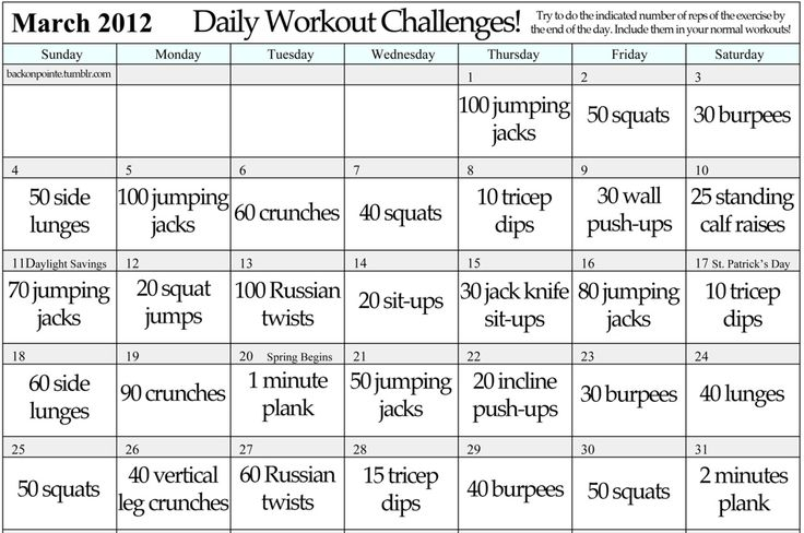 A daily workout challenge for a solid month. October!