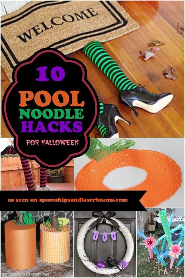Halloween Kids Party Craft Ideas Pool Noodle Hacks ... http://spaceshipsandlaserbeams.com/blog/party-crafts-and-diy/10-pool-noodle-hacks-for-halloween