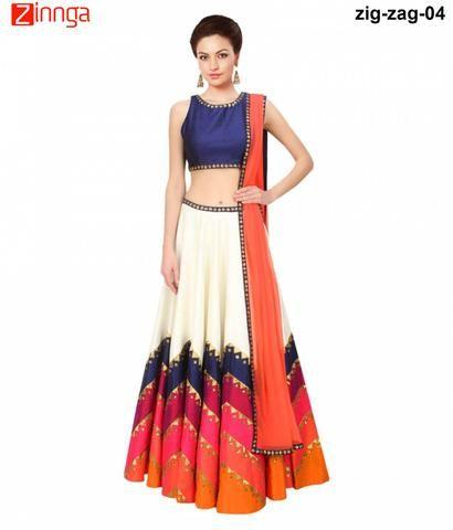 SAIYAJI- Women's Beautiful  Multi Color Banglory Lehengas-zig-zag-04