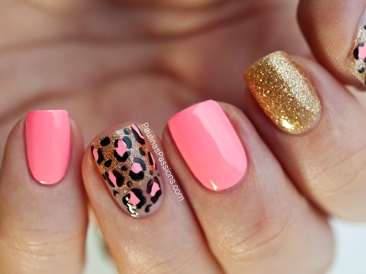 Party Nails Pink Leopard Print Nail Art With China Glaze Neon On