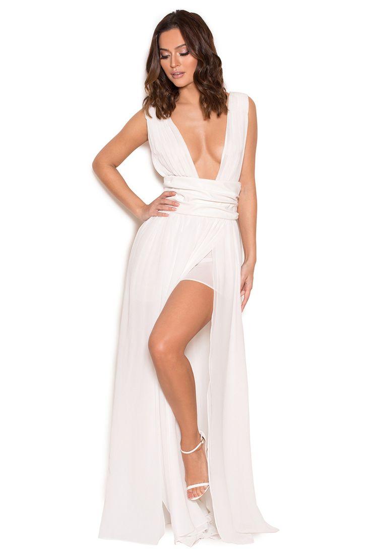 Habillement :: Robes :: 'Sultana' Robe blanche en mousseline blanche avec deux fentes - VENTE - House of CB | Be Obsessed | Brit Designed Bandage Bodycon Dresses & Way More.
