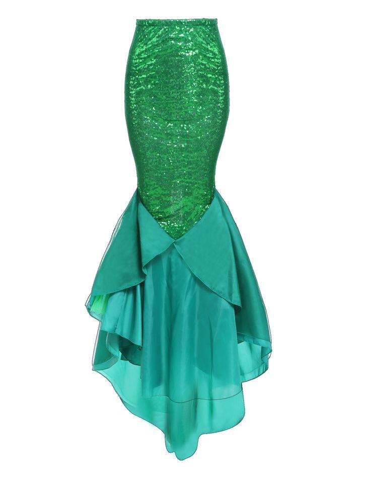 Women Halloween Costume Mermaid Fish Tail Skirt High Waist Sequins Asymmetrical Maxi Skirt dresslink.com
