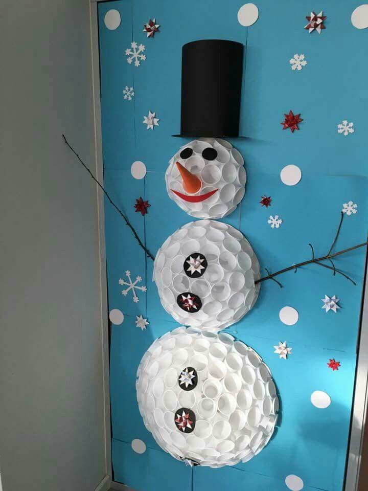 17 best ideas about plastic cup snowman on pinterest for Snowman made out of cups