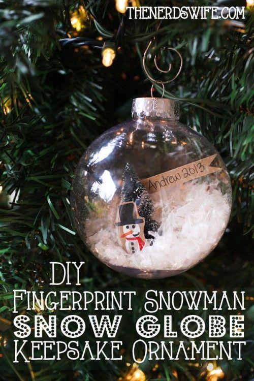 A beautiful keepsake ornament that kids can help make -- DIY Fingerprint Snowman Snow Globe