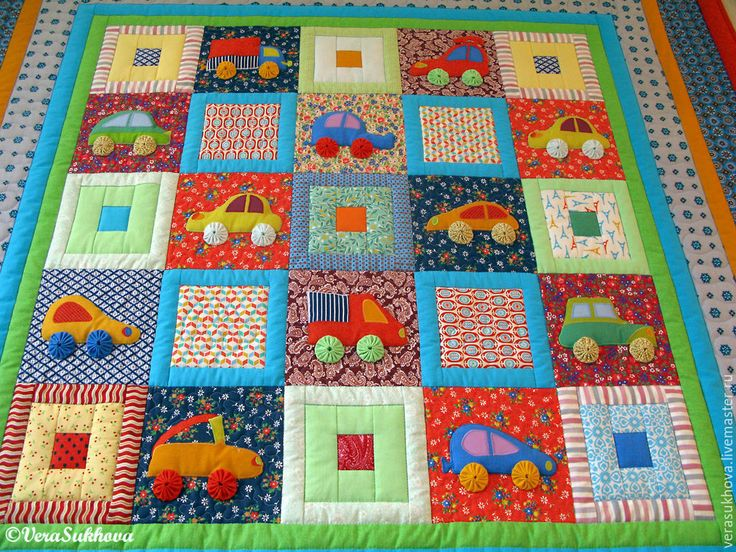 Купить Лоскутное одеяло плед Машинки - разноцветный, машина, машинка, лоскутное одеяло, лоскутное шитье