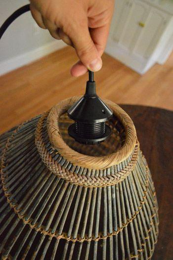 How To Turn A Basket Into A Pendant Light Diy Light