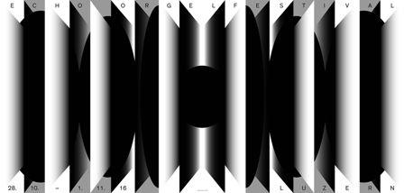 Grafik: Cybu Richli, Atelier: C2F, Echo Orgelfestival 2016 (aus einer Serie von zwei Plakaten), Auftraggeber: ECHO-Orgelfestival, Luzern Druck: DRUCKLABOR AG, Wettingen, Drucktechnik: Digitaldruck Schweiz, © C2F/100 Beste Plakate e. V.