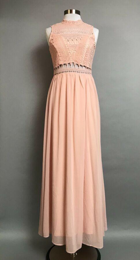 8a3e1691cd9f Sz L Soieblu Crochet Bodice Maxi Dress Gown Prom Wedding Bridesmaid Peach  T7PM#Bodice#Maxi#Dress