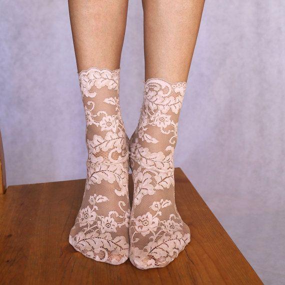 Lace Socks. Beautiful Beige Floral Scalloped Edge Design. Ankle Socks. Women's Socks by TatianasThreads