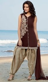 Brown Color Shaded Cotton Patiala Dress