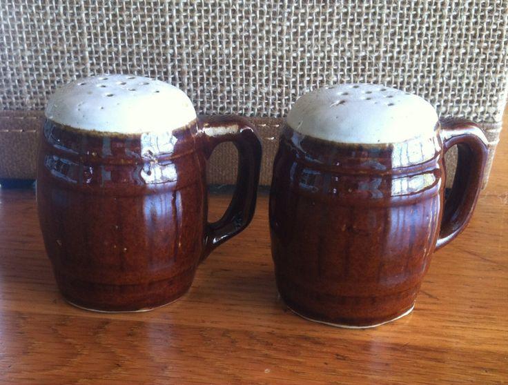 Vintage Beer Mug Barrel Salt and Pepper Shakers