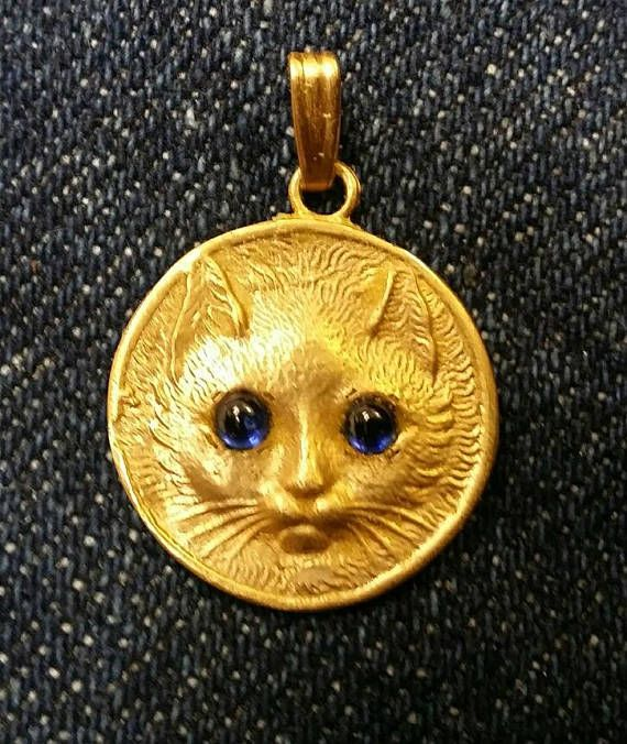 14K gold cat pendant with cabachon sapphire eyes All Things Cat