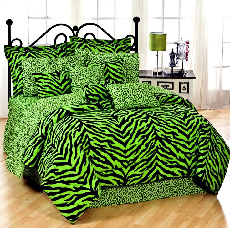 For the girl who has a style all her own. Lime Green and Black Zebra Bedding!