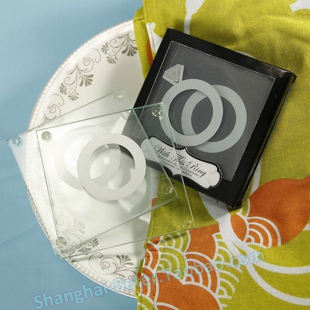With This Ring Unique Stackable Glass Coasters Set Of