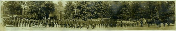 https://flic.kr/p/tp1htc | Tuxedo Park, New York, Panorama circa 1920s, 6 of 6 | Tuxedo Park, New York Fire Department circa 1920s.   Fourth of July panoramic photo.  Has Police Department, Band, Fire Department, Boy Scouts, and the Tuxedo Park Ambulance that could also be used as a Hurst.  Left to right you can see a 1920s car, a horse drawn steam fire engine pumper, Tuxedo Hose Company No. 2, Ladder Company, Tuxedo Hose Company No. 1?, two small horse drawn wagons and then the Tuxedo Park…