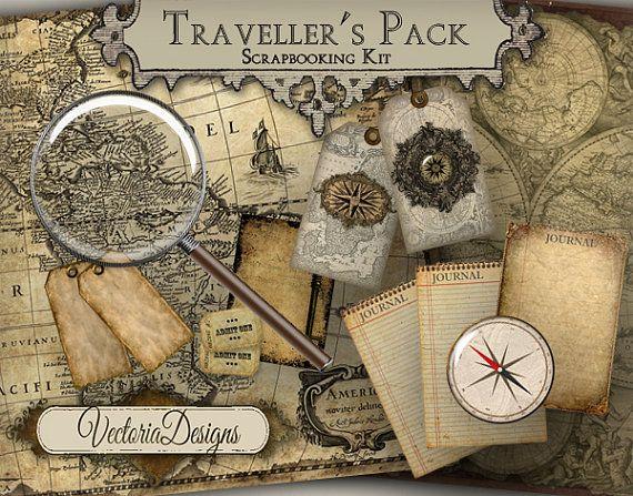 Traveller's Pack Digital Scrapbooking Kit Vintage Images Digital Collage Sheet VD0376