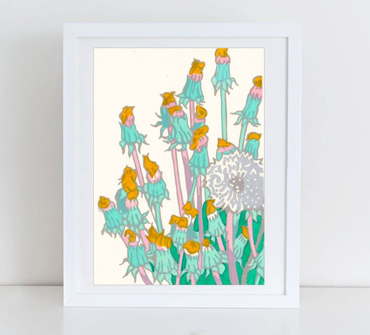 Dandelion print - floral print - wildflowers artwork - dandelion wall art - meadow flowers - meadow art - floral wall decor - dandelions by komarovart on Etsy