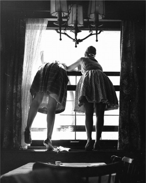 """""""yama-bato:  Fred Stein Untitled (Window Cleaners, Germany), 19619.75 x 7.75 inchesvintage silver print  """": Robert Mann, Art, Window Cleaners, Black Whit, Blackwhit Delight, 1961 Photo, Fred Stein, Vintage Silver, Mann Galleries"""