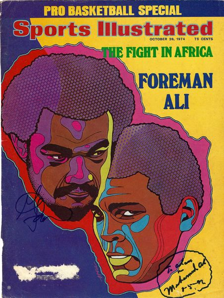 "Muhammad Ali & George Foreman Autographed Sports Illustrated Magazine Cover """"To Alan"""" PSA/DNA #Y01586"