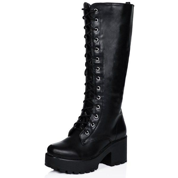 JEDEYE Cleated Sole Lace Up Platform Knee High Boots Black Leather... ❤ liked on Polyvore featuring shoes, boots, black knee high platform boots, knee high leather lace up boots, knee-high lace-up boots, black platform boots and lace up boots