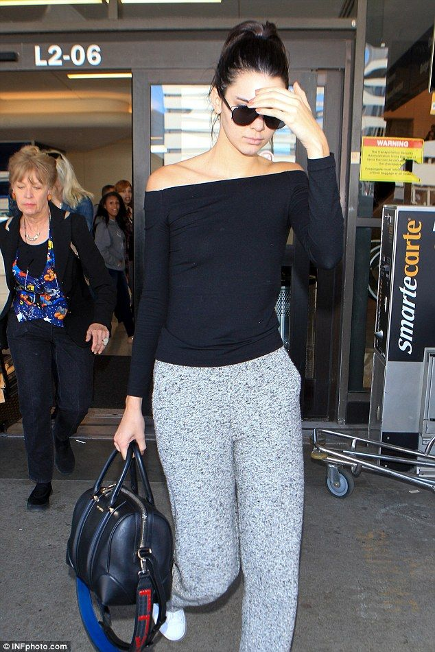 Early start?: Kendall looked a little weary as she strolled out of the terminal and into a...