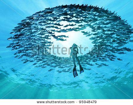 eye of the ocean - stock photo