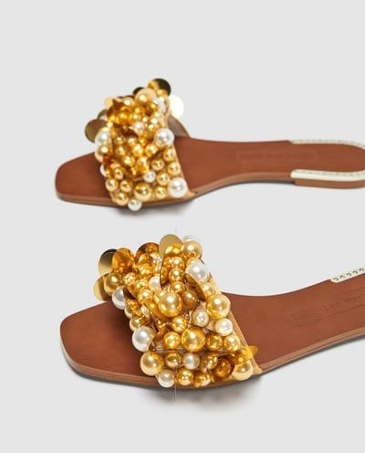 Beaded Pearl All With Beads WomanZara Slides United View Shoes NwkPX8n0O