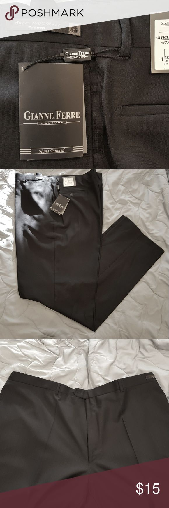 NEW WITH TAGS! Mens Dress Pants NEW with Tags ! Gianne Ferre Italian style 100 % wool pants.  Super 140s Natural Stretch. The inseam is open.  COLOR : NAVY no pleads. Pants Dress