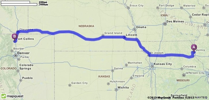 Driving directions from quincy illinois to ft collins