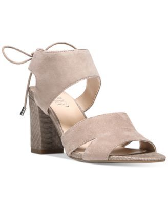 Franco Sarto Gem Lace-Up Block Heel Sandals $89.00 Franco Sarto's Gem sandals are a smart addition to your wardrobe with elegant, laced details and contemporary, block heel styling.
