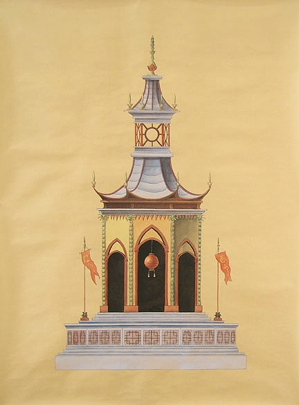 Paul montgomery studio pagoda panels hand painted 36 x 48 are each or