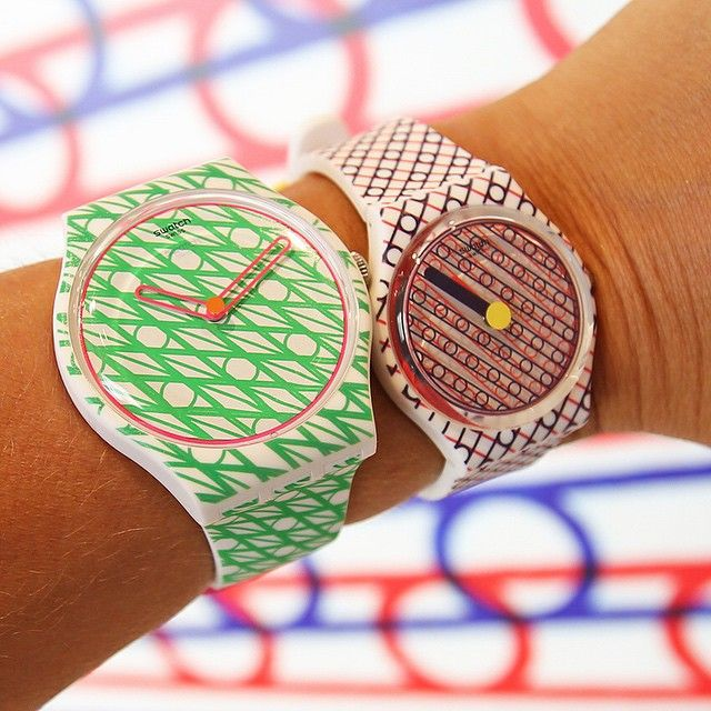 DUETS in ... my watches for @swatch  Duet in blue & red in very limited edition of 999 !!! Now in the Swatch-store..Duet in green & pink available in November #swatchwatch #swatchwatch #SwatchLovesArt