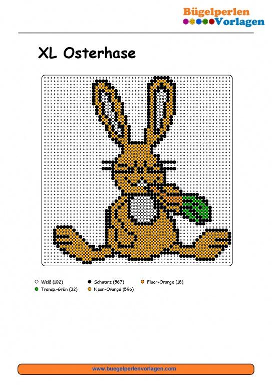 Osterhase Bügelperlen Vorlage - Easter Bunny perler bead pattern