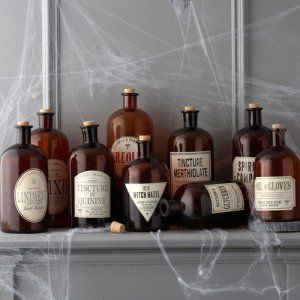 Make antique style apothecary labels and add them to amber botles.